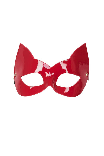 Red Hot Molded Leather Cat Mask