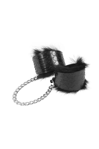 Luxe Silver Python Leather Handcuffs