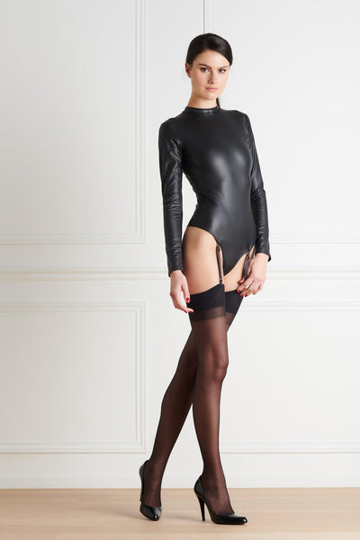Chambre Noire Vegan Leather Thong Bodysuit