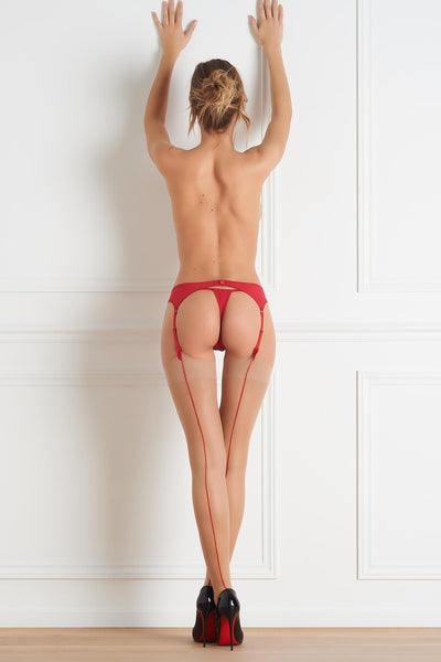 Red Back Seamed Stockings