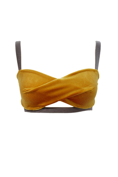 Mustard Yellow Velour Bra