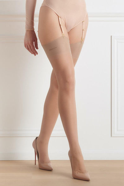 Nude Green Back Seamed Stockings
