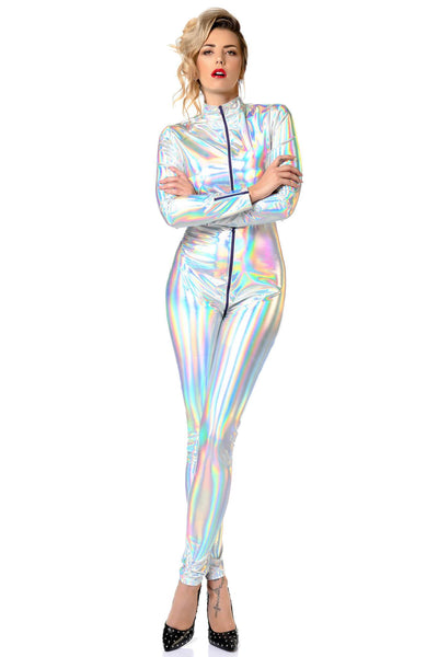 Sweety Holo Silver Catsuit