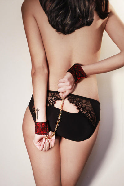 Temptations Flame Embroidered Tulle Cuff Restraints
