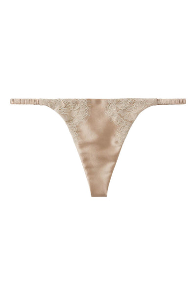 Chantilly Lace Champagne Gold Silk G-String