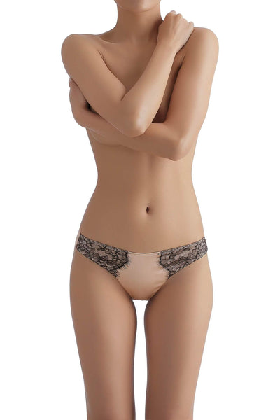 Chantilly Lace Bisque Silk Thong