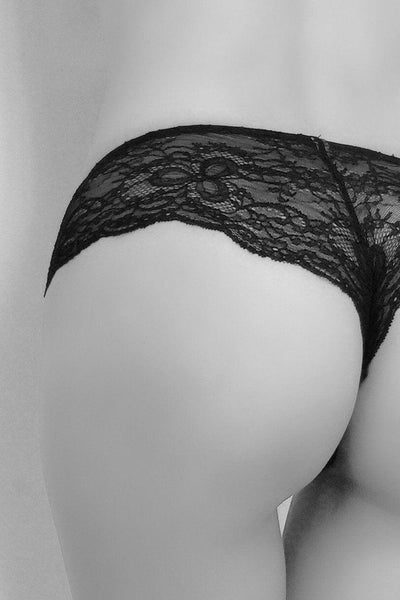 French Leavers Lace & Silk Satin Thong