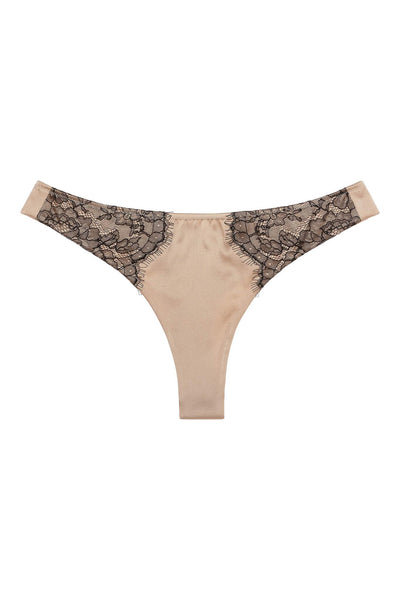 Chantilly Lace Champagne Gold Silk Thong