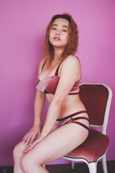 Smoky Pink Velour Bra