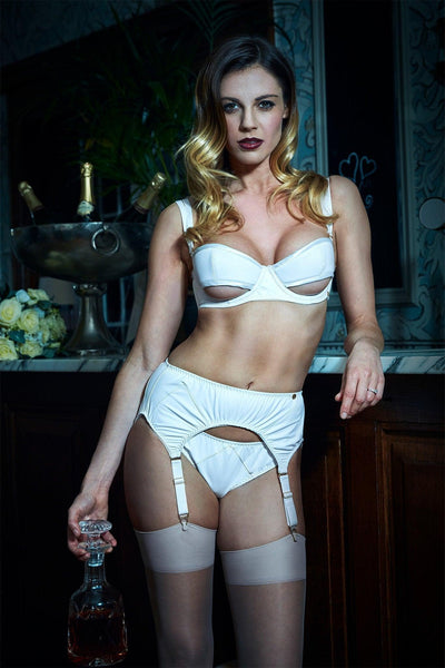 Ava Bridal White Leather Lingerie Set