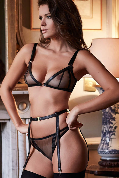 Nina Soft Cup Leather Bra Set