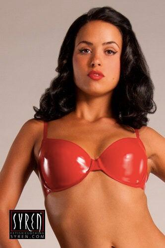 Mila Red Latex Bra