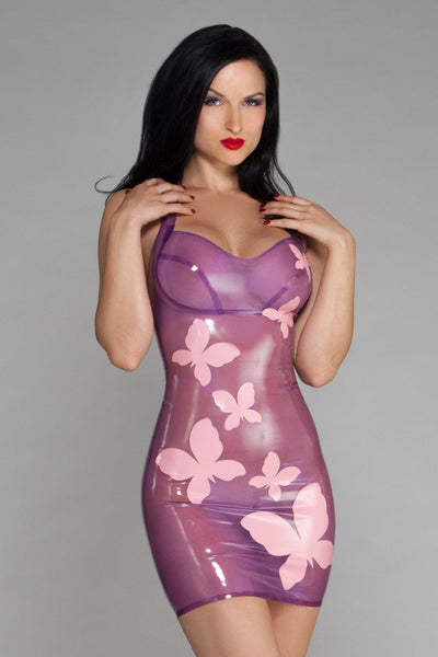Latex Butterfly Halter Dress