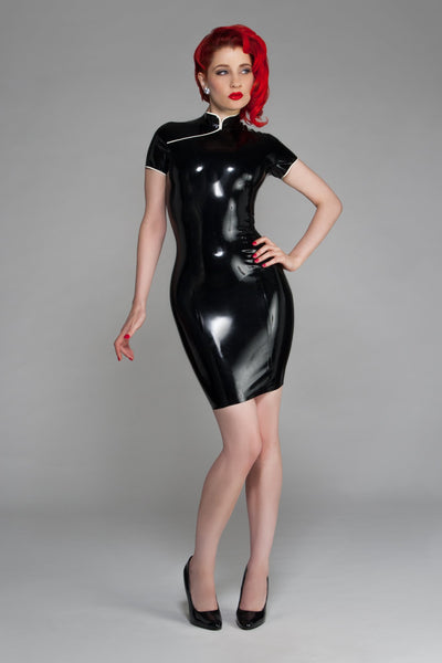 Susie Mandarin Collar Latex Dress