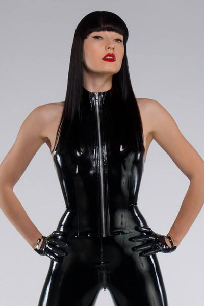Latex Zipper Halter Top