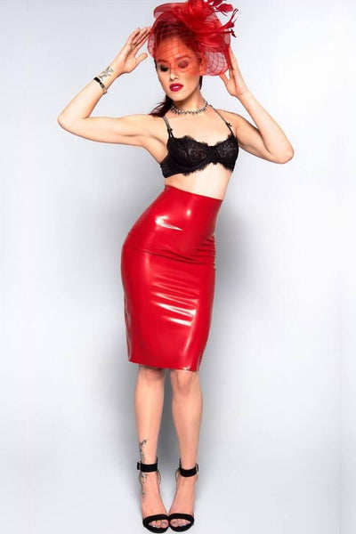 Empire Waist Latex Pencil Skirt