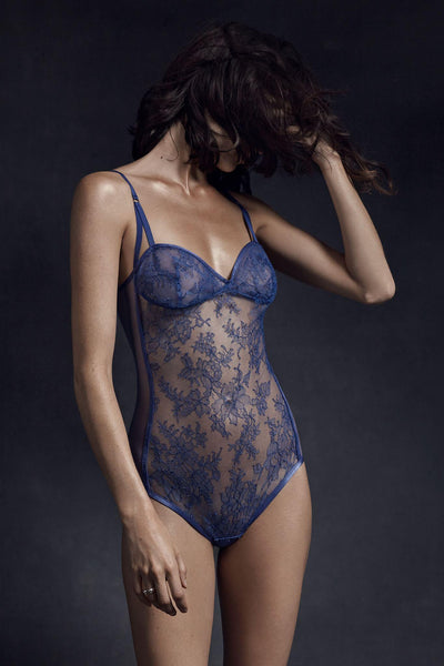 Ianthe Chantilly Lace Sheer Bodysuit