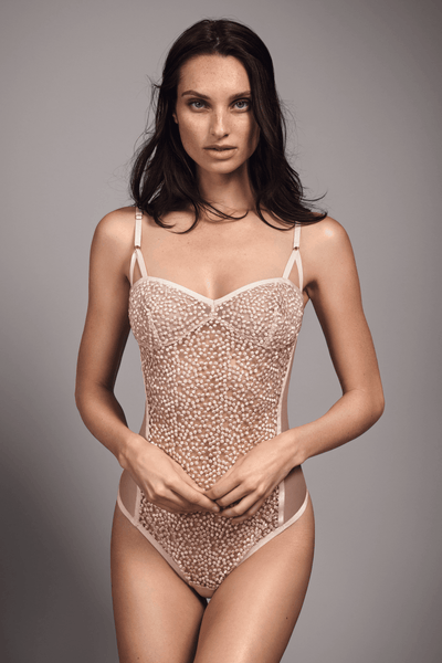 Pink Luz French Embroidered Tulle Bodysuit