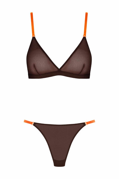 Corps à Corps Lingerie Set • Brown Neon Orange