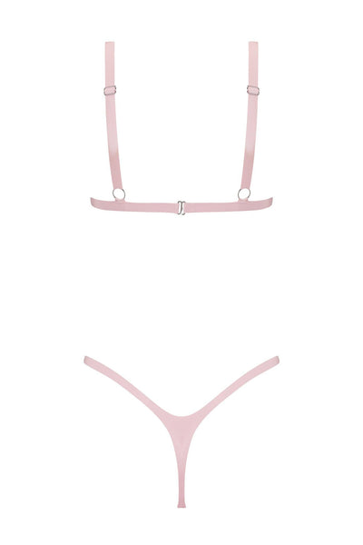 Baby Pink Latex Triangle Lingerie Set
