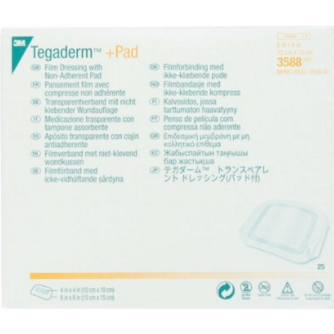 3M™ Tegaderm™ +Pad Film Dressing with Non-Adherent Pad - 3588