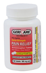 GeriCare Acetaminophen Extra Strength 500 mg. Pain Relief 100 Tablet Bottle | 60-201-01