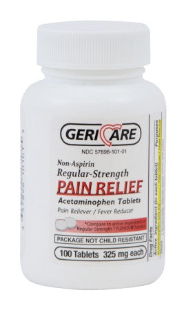 GeriCare Acetaminophen Regular Strength 325 mg. Pain Relief 100 Tablets - 60-101-01