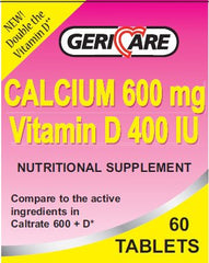 GeriCare Calcium w/ Vitamin D Supplement 400IU / 600mg - 57896074806 - Medsitis
