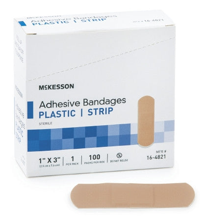 "McKesson Adhesive Strip Plastic Rectangle 1"" x 3"" - 16-4821"