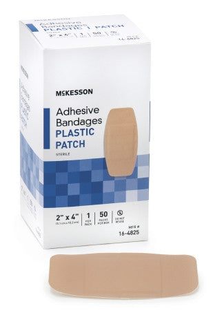 "McKesson Adhesive Strip Plastic Rectangle 2"" x 4"" - 16-4825"