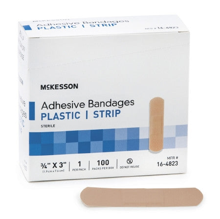 "McKesson Adhesive Strip Plastic Rectangle 3/4"" x 3"" - 16-4823 - Medsitis"