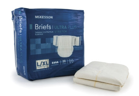 "McKesson Adult Ultra Absornant + Stretch Disposable Incontinent Brief Large/X-Large (48"" - 66"") 