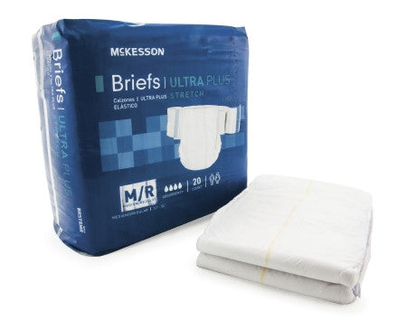 McKesson Adult Ultra Absornant + Stretch Disposable Incontinent Brief - BRSTR - Medsitis