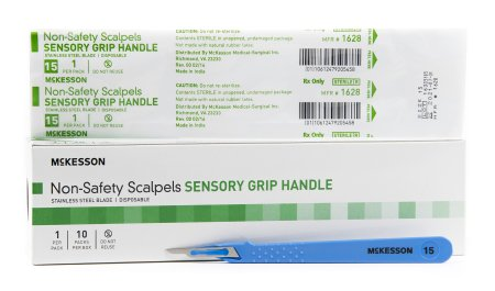 McKesson General Purpose Stainless Steel Scalpel with Sensory Grip Handle # 15 - 1628 - Medsitis