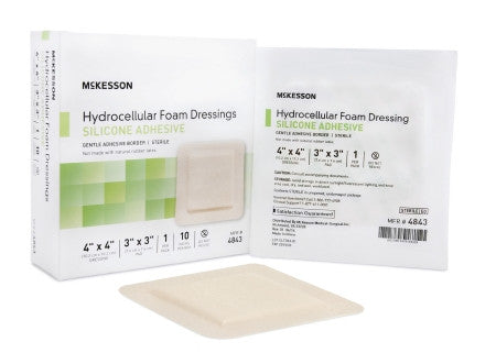 "McKesson Hydrocellular Foam Dressing with Silicone Adhesive 4"" x 4"" - 4843"