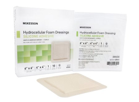 "McKesson Hydrocellular Foam Dressing with Silicone Adhesive 6"" x 6"" - 4844"