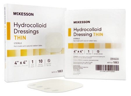 "McKesson Hydrocolloid Thin Dressing Sterile 4"" x 4"" - 1883 - Medsitis"