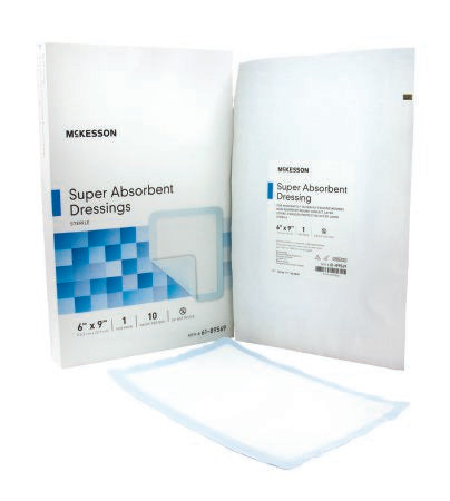 "McKesson Sterile Super Absorbent Dressings 6"" x 9"" - 61-89569"