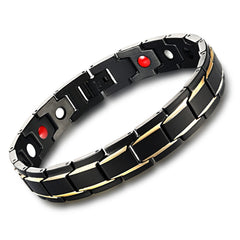 Men's Luxury Gold Plated SS Magnetic Energy Bracelet Bangle