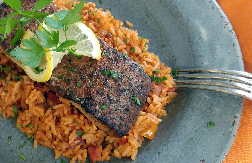 Cajun Bronzed Salmon Fillet with Jambalaya Rice
