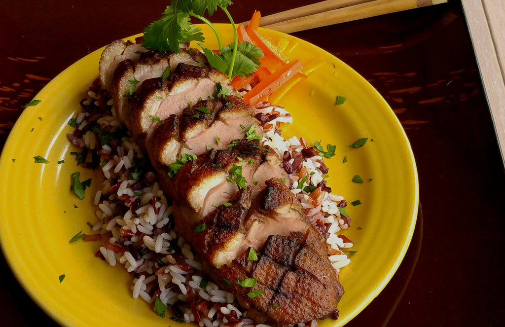 Grilled Asian 8-Spice Duck Breast with Red and Black Thai Rice