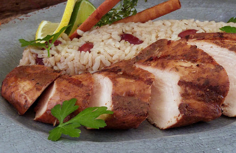 Grilled Jamaican Jerk Chicken Breast with Jamaican Rice and Beans