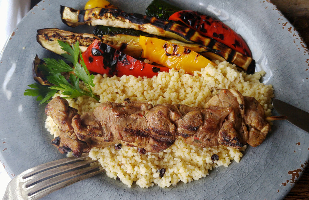 Grilled Moroccan Lamb Kebab with  Harissa Spices