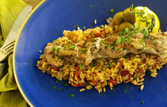 Grilled Santorini Pork Souvlaki with Greek Rice