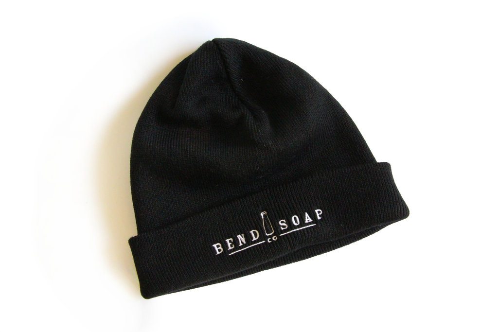 Adult Black Beanie with Bend Soap company logo, blank background
