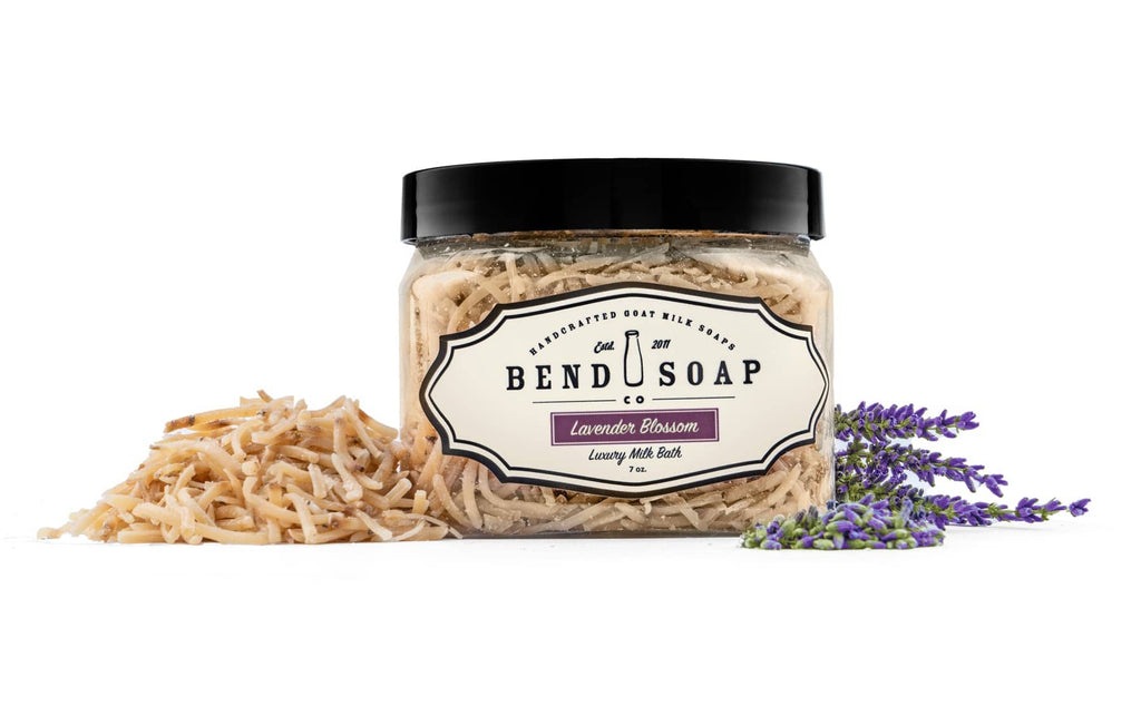 Lavender Blossom Goat Milk Bath Shreds in Container