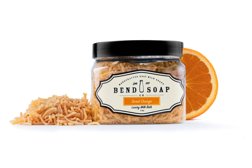 Goat Milk Bath Sweet Orange Shreds Packaged in a Container