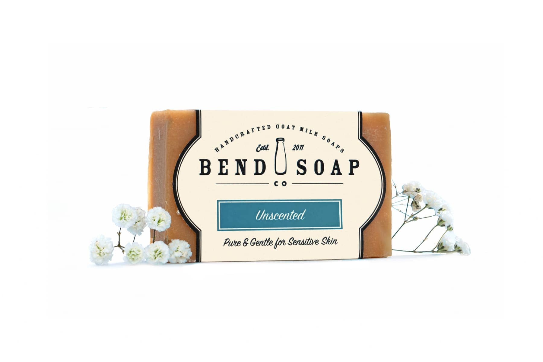 Unscented Goat Milk Soap with Baby's Breath Flowers
