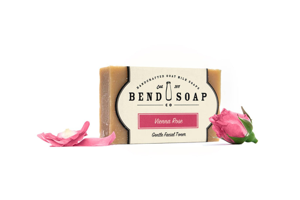 Full Size Bar of Vienna Rose Goat Milk Soap With Pink Rose Pedals