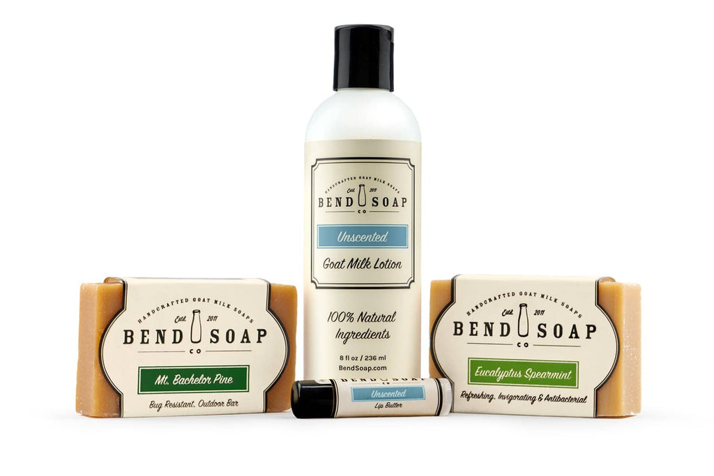 Mens Soap Bundle with Bars of Goat Milk Soap, Goat Milk Lotion and Lip Butter